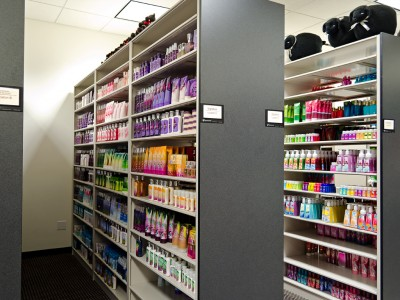 Product Display Shelving on Compact Storage Shelving