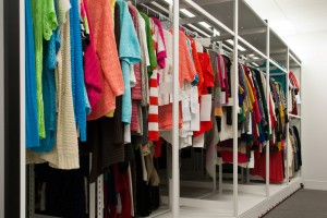 Retail Clothing Storage on 4-Post Mobile Shelving System