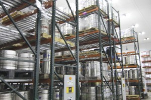 Beer Keg Storage on Mobile Pallet Racking