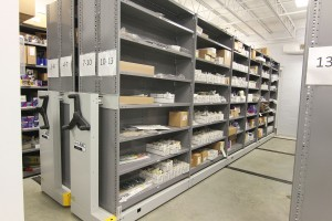 Auto Parts Storage on Mobile Industrial Shelving