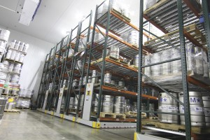 Beer Keg Storage on Mobile Warehouse Shelving