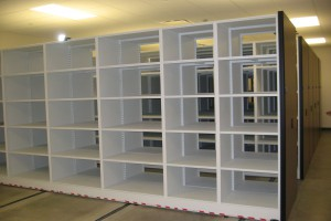 Mobile Shelving System with 4-Post Metal Shelving