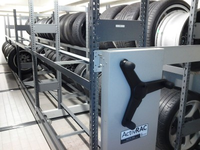 Tire Storage on Mobile Industrial Shelving