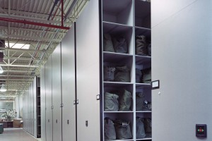 Military Equipment Storage on High-Density Mobile Shelving System