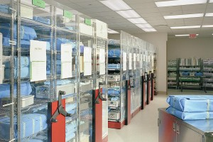 Medical Supply Storage on Wire Shelving in Mobile Storage System