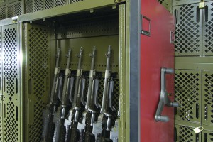 Weapons Rack on Mobile Shelving System for Military Equipment Storage