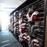 Athletic equipment storage - football pads - sports team shelving
