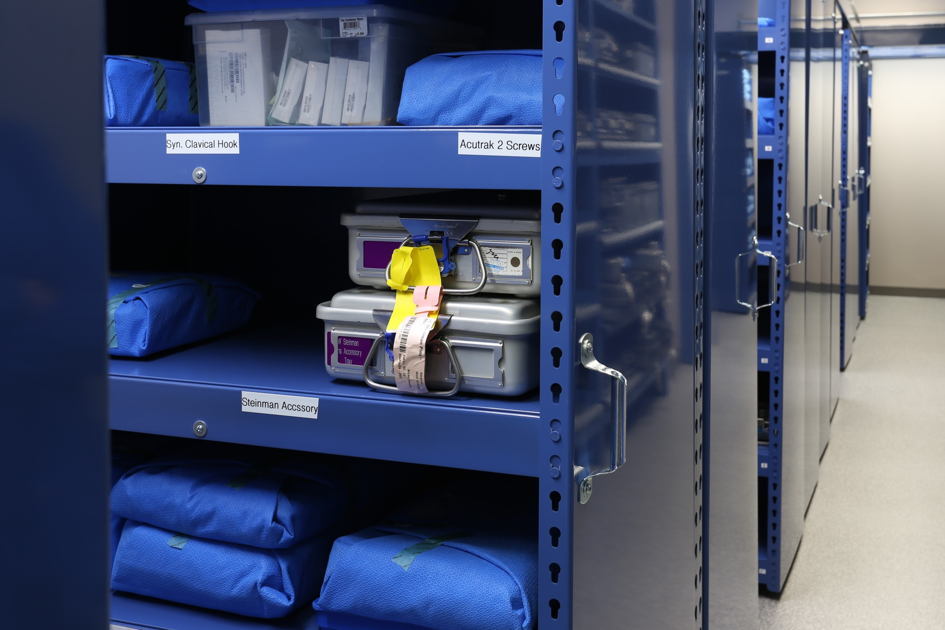 suspended mobile shelving surgical kit storage