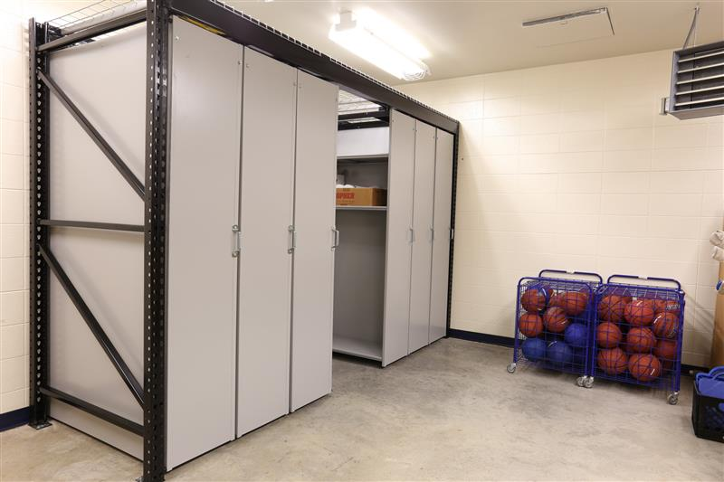 suspended mobile shelving athletic storage