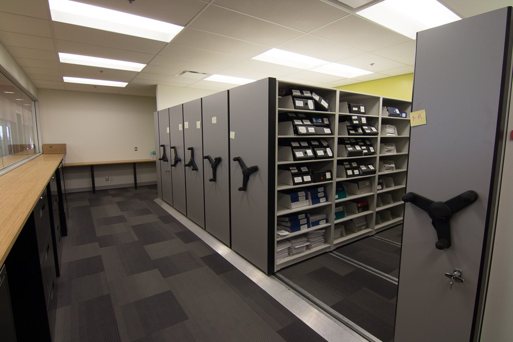low profile mobile shelving 1